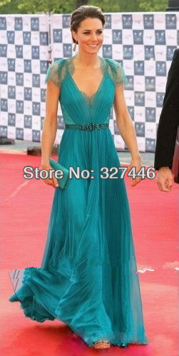 A-Line Floor-length Chiffon Lace Beads Kate Middleton in London Olympic Gala Custom-Made Prom Celebrity Gown Evening Dresses