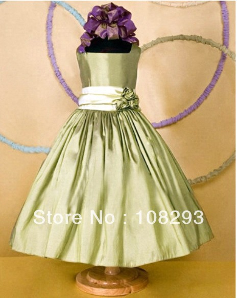 A-Line Square Brought Sash Moss Green Handmade Flower wedding flower girl gowns