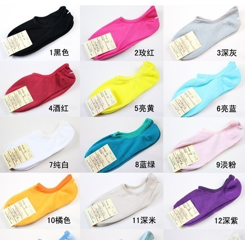 A009 multicolour candy color 100% cotton invisible sock slippers for women Free Shipping