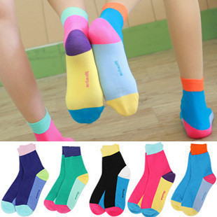 A043  womens candy color block decoration cartoon cotton socks free shipping