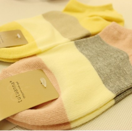 A051 candy color stripe 100% Men and women cotton sock 10 pairs/lot free shipping