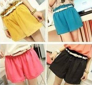 A777 2012 new pure color straight tube shorts with four color belt oh