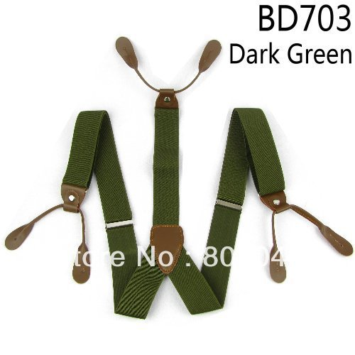 Adult Braces Unisex Suspender Adjustable Leather Fitting Six Button Holes Dark Green BD703