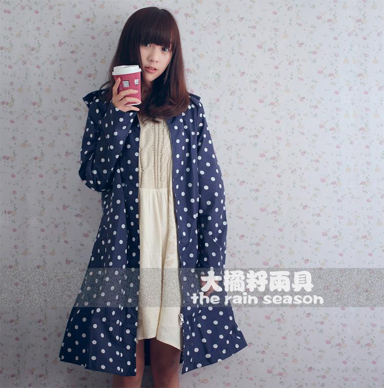 adult raincoat white polka dot 1005 blue