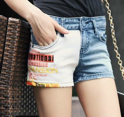Ai Ya 2013 new cotton letters printed denim denim shorts, hot pants explosion models of mixed colors 9525 - 1214