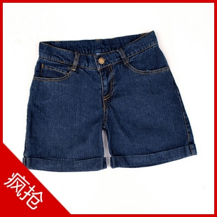 All-match casual hem-stitch roll-up hem casual jeans shorts d441