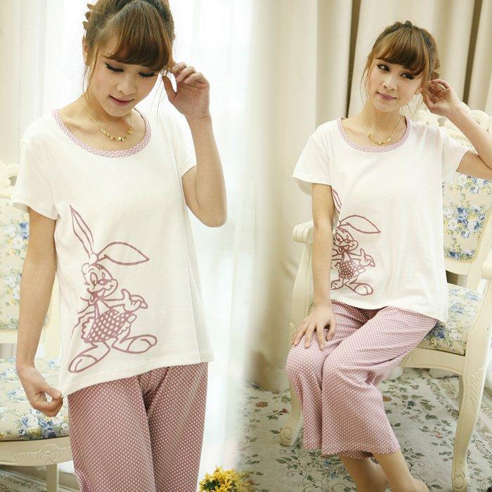 Anee mia summer 100% cotton shank length trousers lovely sleepwear female set lounge