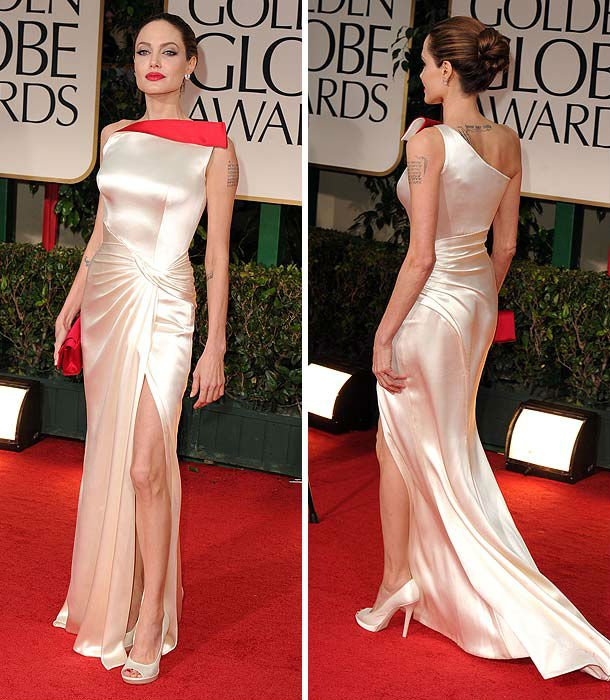 Angelina Jolie in 2012 Golden Globes Straps Size Draped Satin Floor Length Long Red Carpet Evening Dress Celebrity Dress