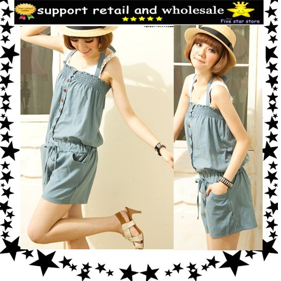 approve retail women cute bowtie jumper off shouler overall casual romper mix order  (LD0083-1)