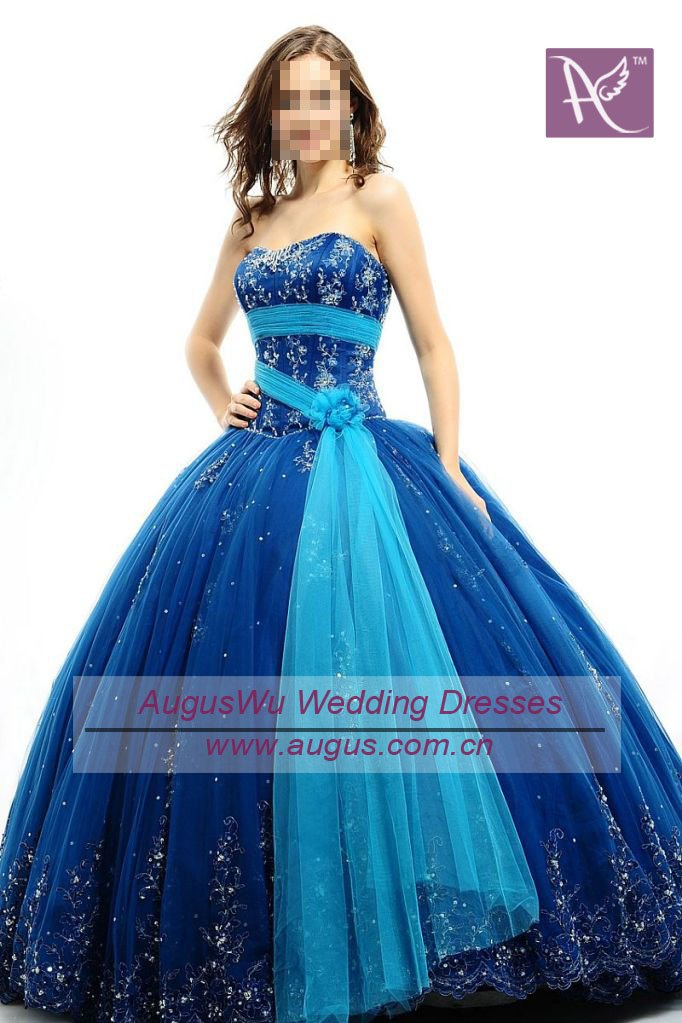 AQB068 Beautiful Royal Blue Beaded Tulle With Turquoise Sash Quinceanera Dresses