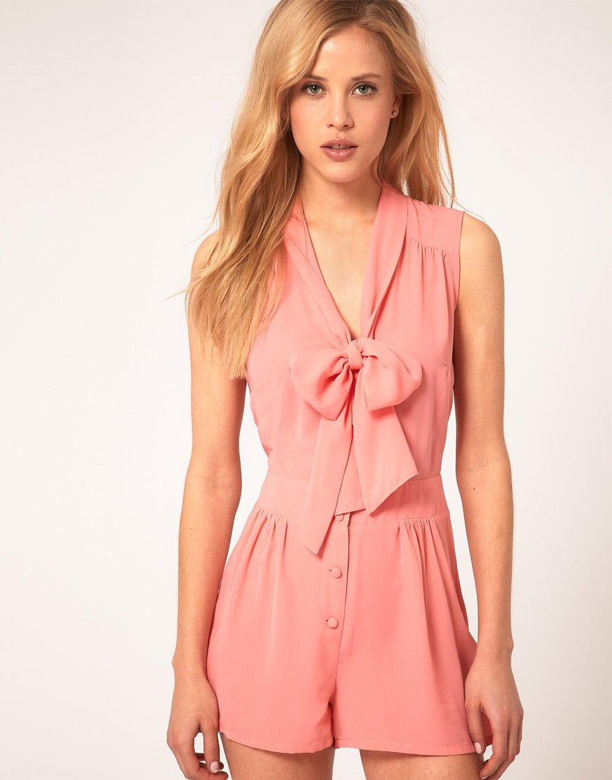 ASOS Sleveless Playsuit with Pussybow
