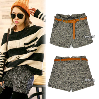 Autumn and winter blended-color baiters shorts all-match comfortable pocket woolen shorts niponjjuya