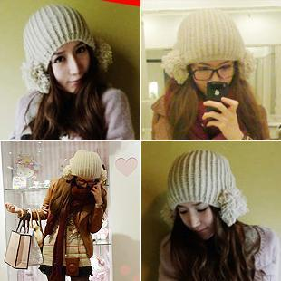 Autumn and winter earmuffs large sphere knitted hat millinery knitted hat mz047 Wholesale Free shipping