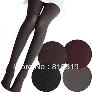Autumn and winter female velvet 80d twisted bars pantyhose stripe thick stockings cj4004