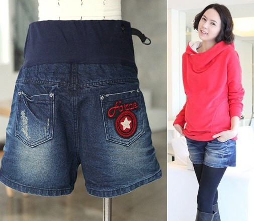 Autumn and winter maternity denim shorts maternity pants shorts boot cut jeans