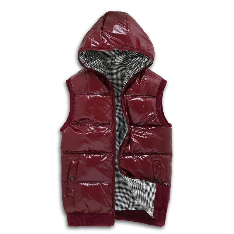 Autumn and winter plus size down cotton vest Women with a hood shiny reversible cotton waistcoat vest thermal