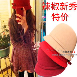 Autumn and winter women's hat jazz hat british style small bow wool cap