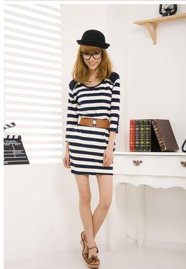 Autumn new models OL temperament Korean striped Slim was thin fashion dress