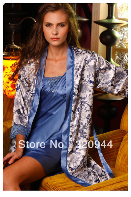 Autumn silk women nightgown,Discount clothing women pajama sets size :L XL@7505