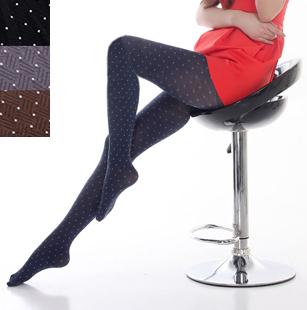 Autumn vintage velvet pantyhose secret pocket dot stockings socks female legging socks