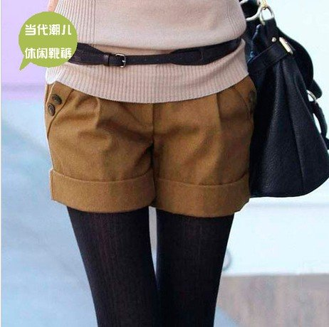 Autumn/Winter Leisure Buttons Shorts Women Boot Pants S to XXL Black/Gray/Brown Joker Shitsuke Worsted Women Mid-Wiast