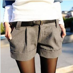 Autumn/winter pants flanging cloth short boots hot pants freeshipping p5