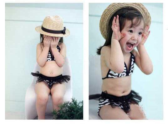 Baby girls 3-piece set Bikini baby Swimwear - Kids' bathing suit Girls swimwear girl swimsuit black hot sale