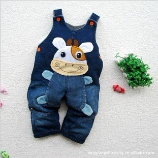 Baby Jeans Romper with thickened woolen, Baby suspender trousers #5112