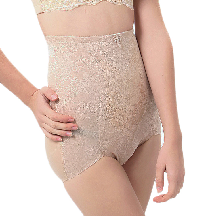 Bamboo nylon jacquard fabric high waist slender waist abdomen drawing butt-lifting panties high waist body shaping pants
