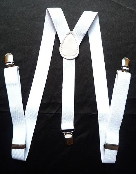 Beautiful 1PC White Unisex Clip-on Braces Elastic Suspenders