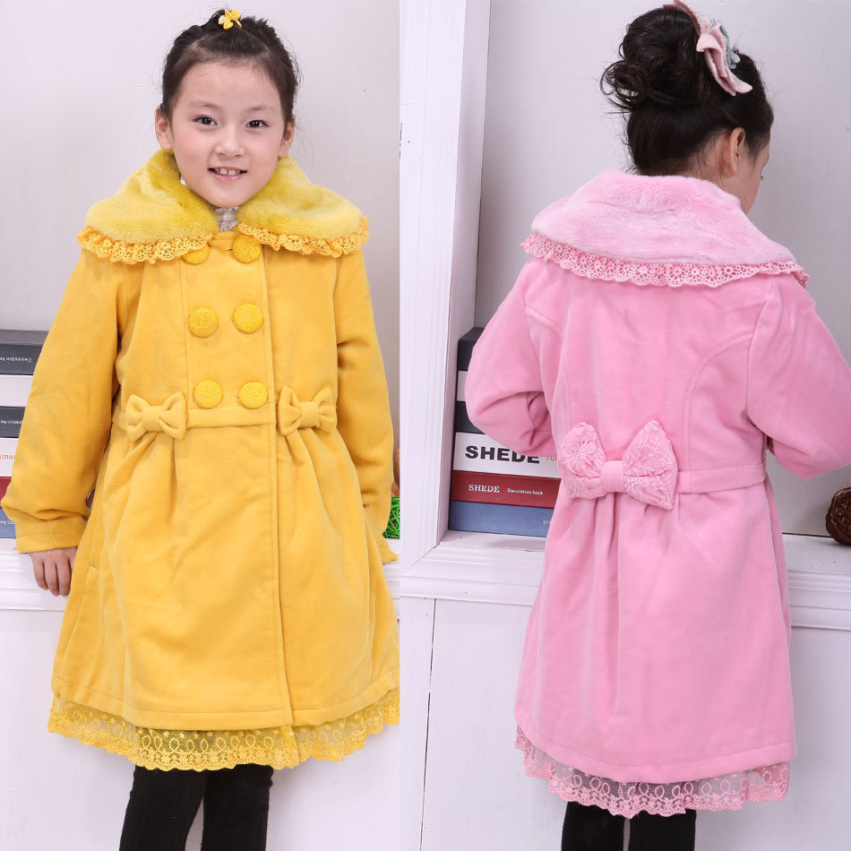 Beautiful 2013 children's clothing female child big boy woolen large lapel overcoat trench outerwear