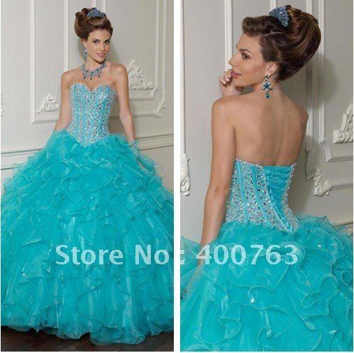 Beautiful Ballgown Sweetheart Beaded Bodice New Style Quince Dresses