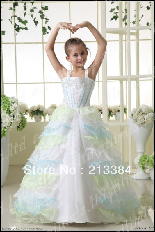 Beautiful White Girl Kids Pageant Dress Party Princess Ball Gown Si2.4.6.8.10.12