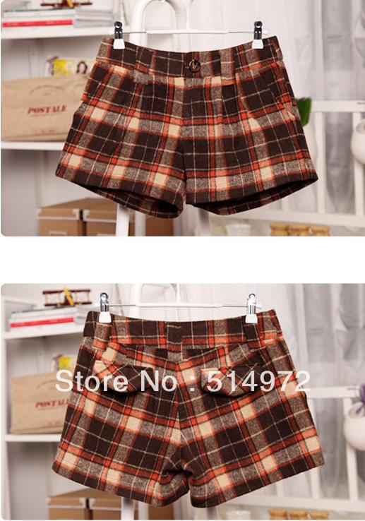 Best selling!!fashion joker woolen plaid women shorts pants popular ladies scanties female breechcloth  free shipping