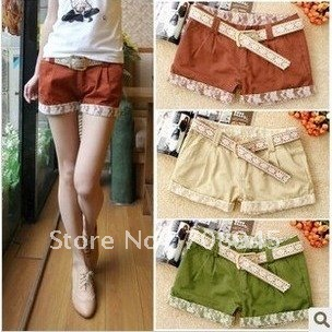 Best Selling!!Newst Arrival! With a Belt! Fashion Lace Cotton Shorts, Women Short Pants +Free shipping  Retail&Wholesale
