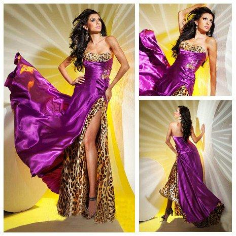 Best Selling Purple Elastic Silk Long Front Silt Leopard Prom Dress 2012
