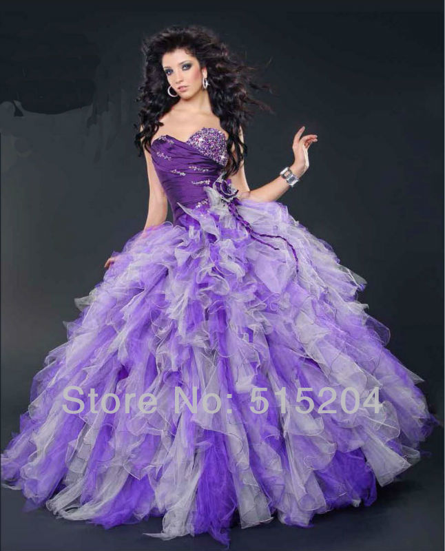 Best Selling Vogue Colorful Organza Sweetheart Beaded Ball Gown Quinceanera Dresses Prom Gowns 2013