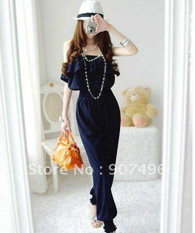 Best Selling!women frilled top+long pants waist  jumper backless sexy overall casual romper+free shipping  ,discount