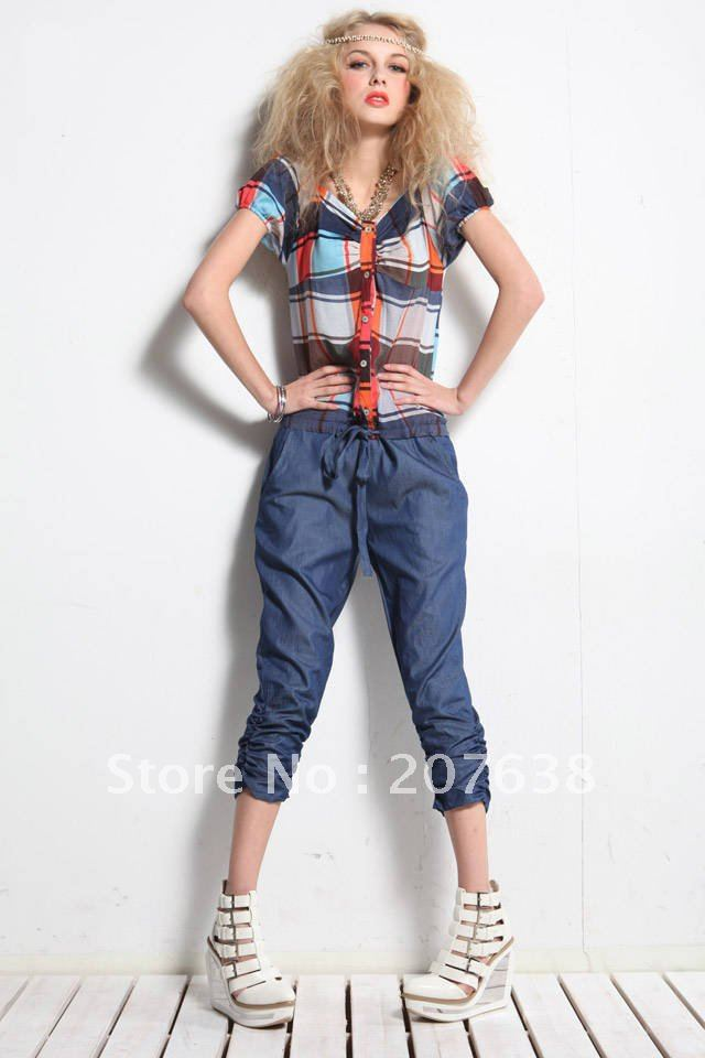 Best Selling!!women plaid jumper top+crop pant fashion romper gathered legopening+free shipping  Retail&Wholesale