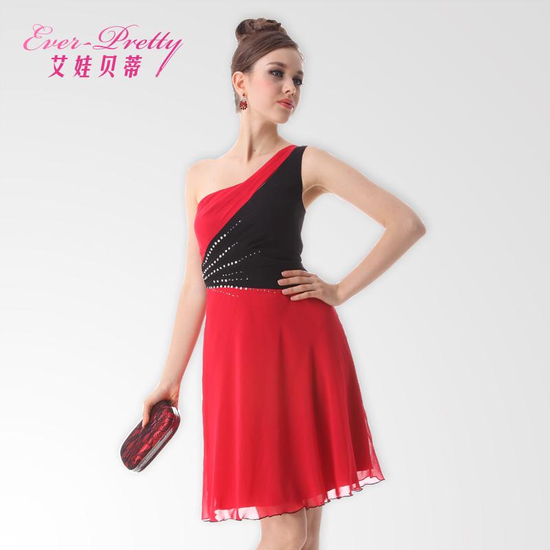 BETTY one shoulder short design oblique sexy formal  fashion slim evening dress