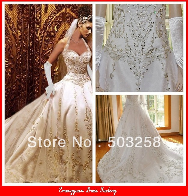 Bg1 Custom Ivory Satin Gold Embroidered Halter Wedding Dress 2013