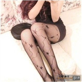 Big c five-pointed star vintage jacquard fishnet stockings sexy fishing net socks cutout pantyhose stockings