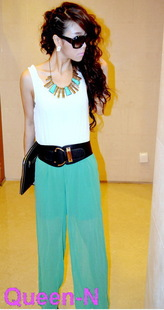 big promotion Fashion Women Sleeveless Jumpsuit Scoop 2 Colors blue, green free shipping