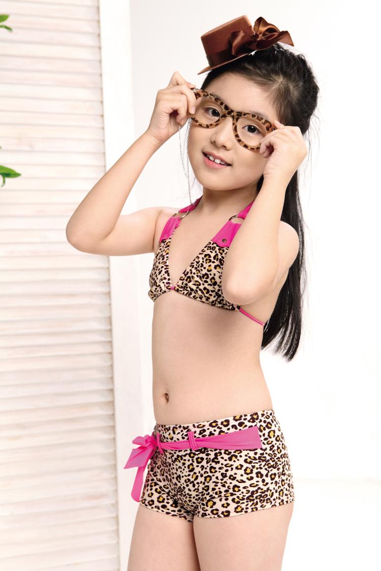 Childrens Swimsuit Girls Cute Leopard Baby Split Bikini Swimsuit