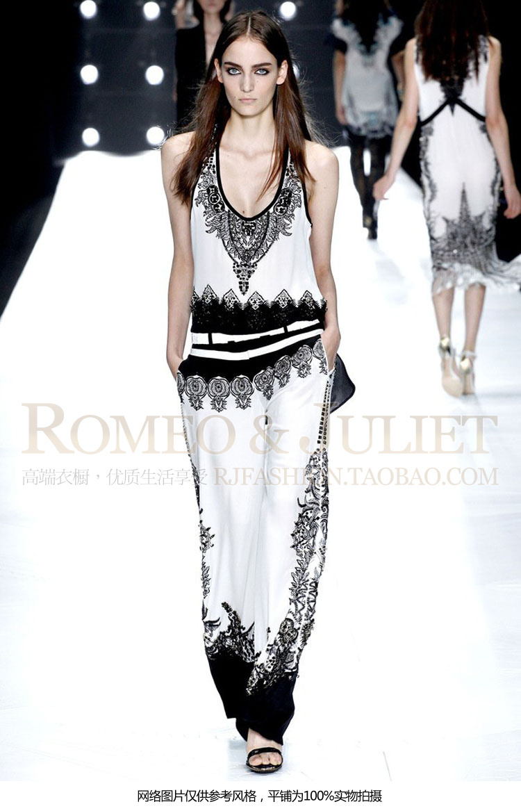 Black and white contrast color printing sleeveless conjoined twin pants