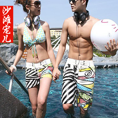 Black-and-white patchwork lovers beach pants shorts straight casual shorts lovers bottoms stk060