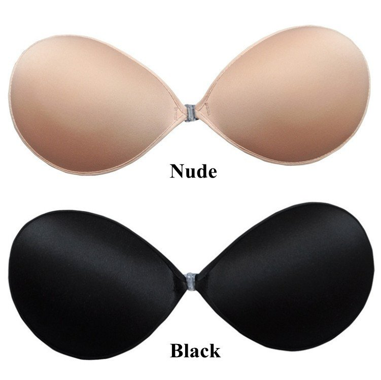 Black Beige Nude Strapless Backless Invisible Self-Adhesive Silicone Breast Bra Pad 4 Cup A B C D Free Shipping