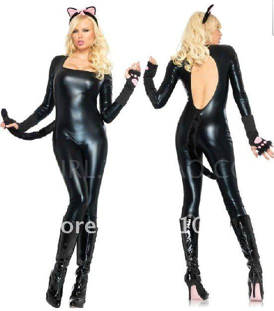 BLACK CAT LATEX COSTUMES CROTCHLESS CATSUIT Jumpsuit SEXY LINGERIE F41