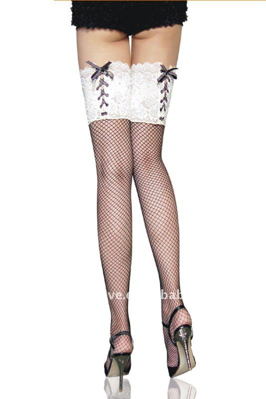 Black Fishnet Thigh High with White Lace-up Top Sexy Stockings wholesale retail sexy hosiery Item No.:B2078