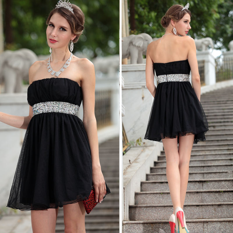 black handmade beading tube top quality short prom dresses
